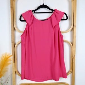 Forcast top size 12 pink ruffle sleeve casual